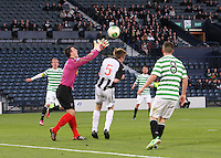 Ryan Goodfellow fails to hold the ball in the Dunfermline Athletic v Celtic Scottish Football Association Youth Cup Final match played at Hampden Park, Glasgow on 1.5.13.