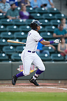 Johan Cruz (5) of the Winston-Salem Dash follows through on his swing against the Buies Creek Astros at BB&T Ballpark on April 13, 2017 in Winston-Salem, North Carolina.  The Dash defeated the Astros 7-1.  (Brian Westerholt/Four Seam Images)