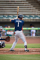 Potomac Nationals first baseman Ian Sagdal (1) at bat during the first game of a doubleheader against the Lynchburg Hillcats on June 9, 2018 at Calvin Falwell Field in Lynchburg, Virginia.  Lynchburg defeated Potomac 5-3.  (Mike Janes/Four Seam Images)