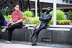 October 31, 2012, Tokyo, Japan - Japanese man wears the costume of Black Spiderman for Halloween in Shibuya district, Tokyo. (Photo by Yumeto Yamazaki/AFLO)
