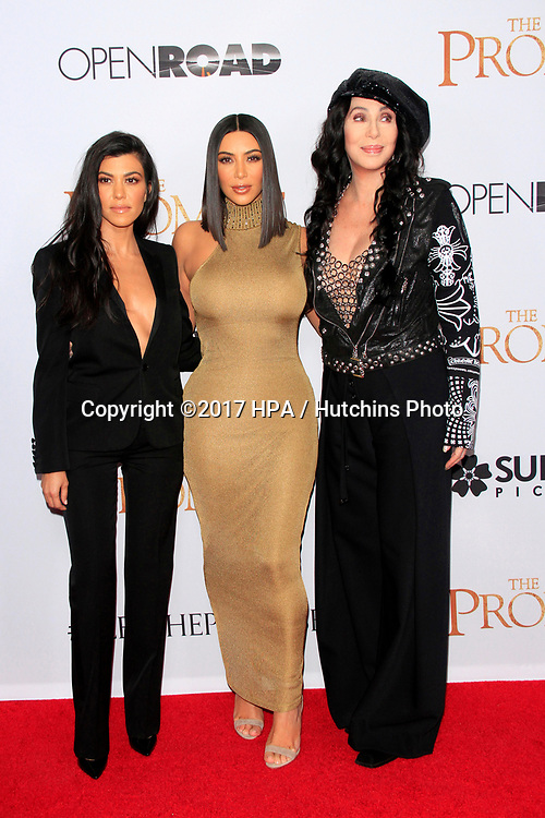 """LOS ANGELES - APR 12:  Kourtney Kardashian, Cher, Kim Kardashian at the """"The Promise"""" Premiere at the TCL Chinese Theater IMAX on April 12, 2017 in Los Angeles, CA"""
