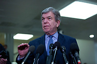United States Senator Roy Blunt (Republican of Missouri) speaks to members of the media following a closed door briefing in the Senate SCIF with United States Secretary of State Mike Pompeo, United States Secretary of Defense Dr. Mark T. Esper, Gina Haspel, Director, Central Intelligence Agency (CIA), United States Army General Mark A. Milley, Chairman of the Joint Chiefs of Staff, and Acting Director of Intelligence Joseph Maguire at the United States Capitol in Washington D.C., U.S., on Wednesday, January 8, 2020.  97 senators were said to have attended the briefing, which discussed the U.S. drone strike on Iranian military leader Qasem Soleimani and the issue of Congressional authorization for such acts.<br /> <br /> Credit: Stefani Reynolds / CNP/AdMedia