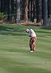 August 3, 2012: John Daly hits an approach shot on the 15th hole during the second round of the 2012 Reno-Tahoe Open Golf Tournament at Montreux Golf & Country Club in Reno, Nevada.