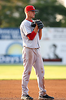 July 10th 2008:  Third baseman Will Middlebrooks of the Lowell Spinners, Class-A affiliate of the Boston Red Sox, during a game at Dwyer Stadium in Batavia, NY.  Photo by:  Mike Janes/Four Seam Images