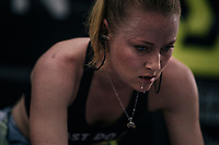 Gracie Elvin (AUS/Mitchelton-Scott) working herself in a serious sweat / warming up pre-race<br /> <br /> UCI WOMEN'S TEAM TIME TRIAL<br /> Ötztal to Innsbruck: 54.5 km<br /> <br /> UCI 2018 Road World Championships<br /> Innsbruck - Tirol / Austria