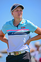 Brooke M. Henderson (CAN) takes a break on the practice green before Sunday's final round of the 72nd U.S. Women's Open Championship, at Trump National Golf Club, Bedminster, New Jersey. 7/16/2017.<br /> Picture: Golffile | Ken Murray<br /> <br /> <br /> All photo usage must carry mandatory copyright credit (&copy; Golffile | Ken Murray)