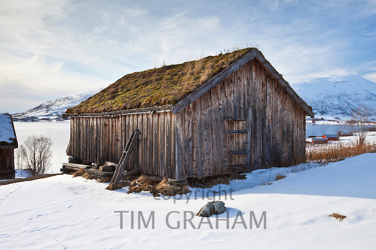 Straumengard Museum in log cabin at Straumsfjord on Kvaloya Island near Tromso in Arctic Circle Northern Norway