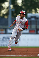 Williamsport Crosscutters shortstop Luis Espiritu, Jr. (27) running the bases during a game against the Batavia Muckdogs on August 27, 2015 at Dwyer Stadium in Batavia, New York.  Batavia defeated Williamsport 3-2.  (Mike Janes/Four Seam Images)
