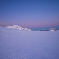 Winter mountain landscape at dawn, Moskenesøy, Lofoten Islands, Norway
