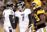 PITTSBURGH, PA - NOVEMBER 06:  Billy Cundiff #7 of the Baltimore Ravens is congratulated by teammate Sam Koch #4 after kicking a field goal against the Pittsburgh Steelers during the game on November 6, 2011 at Heinz Field in Pittsburgh, Pennsylvania.  (Photo by Jared Wickerham/Getty Images)
