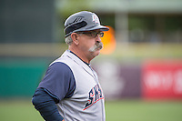 Manager Rick Sweet (16) of the Colorado Springs Sky Sox coaches third base during the game against the Salt Lake Bees in Pacific Coast League action at Smith's Ballpark on May 22, 2015 in Salt Lake City, Utah.  (Stephen Smith/Four Seam Images)