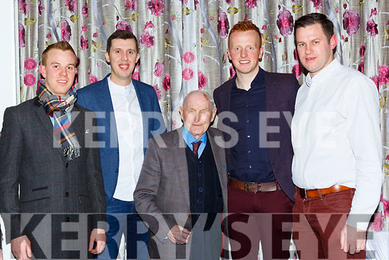 Donie Sheehan with l-r: Fionn Fitzgerald, Mike Moloney, Johnny Buckley and Eoin Brosnan at the Dr Crokes GAA social in the Dromhall Hotel on Friday night