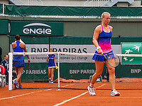 Paris, France, 01 June, 2016, Tennis, Roland Garros, Kiki Bertens (NED) in action during her round of 16 women&rsquo;s singles match against Madison Keys (USA)<br /> Photo: Henk Koster/tennisimages.com