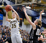 SIOUX FALLS, SD: MARCH 12:  Presley O'Farrell #35 of Augustana shoots over Paige Redmond #00 of Central Missouri during the 2018 NCAA Division II Women's Basketball Central Region Championship Monday at the Elmen Center in Sioux Falls, S.D. (Photo by DIck Carlson/Inertia)
