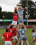 20/9/2012  EXAM SPORT  Action from the Munster A v Connacht Eagles in Garryowen FC, Limerick last evening shows Danny Qualter, Connacht robbing the ball in a Munster lineout as Phillip Donnellan, Munster is lifted behind him. Picture Liam Burke/Press 22