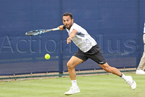 21.06.2016. Nottingham Tennis Centre, Nottingham, England. Aegon Open Mens ATP Tennis. Victor Estrella Burgos of Dominican Republic in action against Fernando Verdasco of Spain