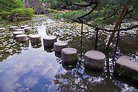 "Stepping Stones at Heian Shrine Pond Garden - the shrine is surrounded by beautiful chisen-kaiyu-shiki which literally means ""pond-stroll"" gardens on three sides of the main structures."