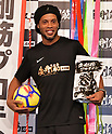 Former soccer player Ronaldinho attends PR event for protein supplement in Tokyo