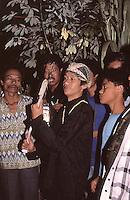 Indonesia, Java island; Pak Iman discovering the kris after the ritual.<br /> Indonesia, isola di Giava; l duk&ugrave;n Pak Iman trova il kris dopo il rituale.