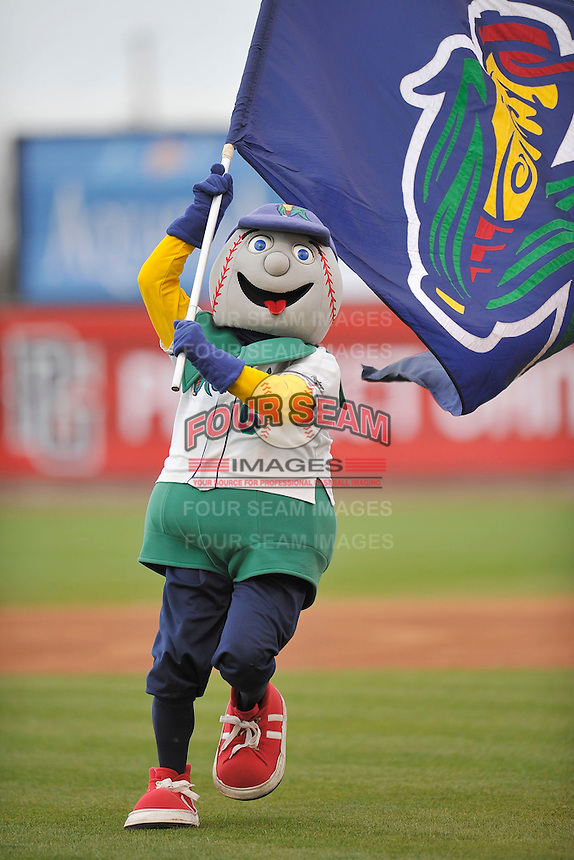 Mr. Shucks leads the Cedar Rapids Kernels onto the field prior to the game against the Kane County Cougars at Perfect Game Field on May 1, 2014 in Cedar Rapids, Iowa. The Kernels won 5-2.   (Dennis Hubbard/Four Seam Images)