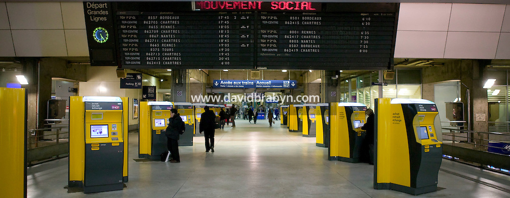 "A portion of a sentence annoucing service disruption on a scrolling sign (above) reads ""mouvement social"" (roughly translates as ""group protest"") at the Montparnasse train station in Paris, France, on 14 November 2007, strike day for many employees of the SNCF, the national French railway operator. A widespread strike paralysed much of the country's public transit system as workers from certain sectors protested the reform of their favored retirement plans."