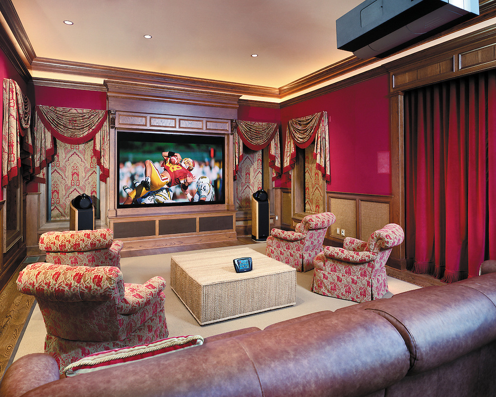 Casual Media Room with Black out Curtains