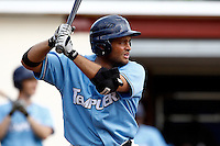 14 July 2011: Brice Lorienne of Senart Templiers is seen at bat during the 2011 Challenge de France match won 12-9 by the Senart Templiers over Pessac Pantheres, at Stade Pierre Rolland, in Rouen, France.