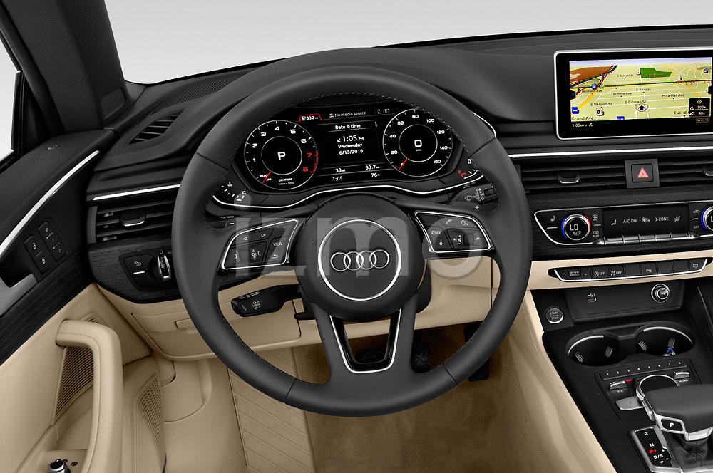 Car pictures of steering wheel view of a 2018 Audi A5 Cabriolet Premium Plus 2 Door Convertible