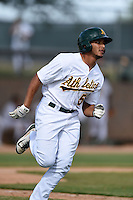 Oakland Athletics third baseman Jose Brizuela (53) during an Instructional League game against the San Francisco Giants on October 15, 2014 at Papago Park Baseball Complex in Phoenix, Arizona.  (Mike Janes/Four Seam Images)
