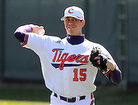 Clemson RHP Graham Stoneburner (15) prior to a game between the Charlotte 49ers and Clemson Tigers Feb. 22, 2009, at Doug Kingsmore Stadium in Clemson, S.C. (Photo by: Tom Priddy/Four Seam Images)