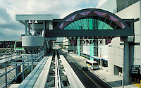 The Omni station On the Omni Outer loop of the Metromover, Miami, Florida's new, low fare, downtown transit system.        Mass transit, monorail, public transportation, railroads, cityscape, skyline. Miami Florida, downtown Miami.