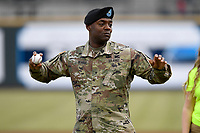 Fort Jackson Commanding General Milford Beagle Jr. threw out a ceremonial first pitch at the Columbia Fireflies Opening Night game Thursday, April 4, 2019, at Segra Park in Columbia, South Carolina. (Tom Priddy/Four Seam Images)