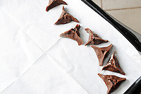 Chocolate  Hamantashen, Purim ,Jewish holiday, food ,Chocolate  dough preparation