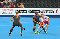 England's David Goodfield in action  during the Hockey World League Semi-Final match between England and Netherlands at the Olympic Park, London, England on 24 June 2017. Photo by Steve McCarthy.