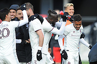 WASHINTON, DC - FEBRUARY 29: Washington, D.C. - February 29, 2020: Jonathan Lewis #7 of the Colorado Rapids celebrates the victory with teammate Kei Kamara #23. The Colorado Rapids defeated D.C. United 2-1 during their Major League Soccer (MLS)  match at Audi Field during a game between Colorado Rapids and D.C. United at Audi FIeld on February 29, 2020 in Washinton, DC.