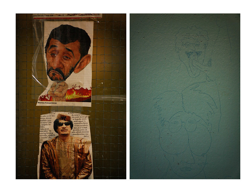 A combo picture shows drawings of someone's homosexual fantasies on the wall of a cell and pictures from newspapers of Iran's President Mahmoud Ahmedinejad and ex Libyan leader Muammar Gadaffi are seen on the wall of a kitchen in one of the wings of the Detention Unit of the International Criminal Tribunal for the former Yugoslavia (ICTY) in Hague September 20, 2011. REUTERS/Damir Sagolj (NETHERLANDS)