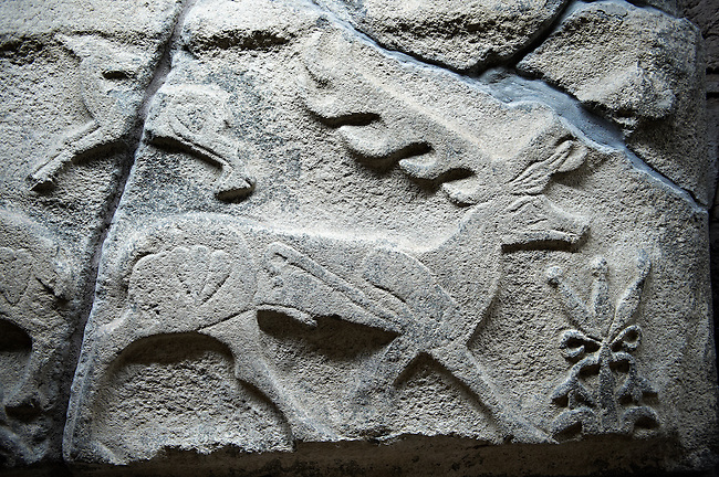 Picture & image of a Neo-Hittite orthostat showing a Deer from Alacahöyük, Alaca Çorum Province, Turkey. Museum of Anatolian Civilisations, Ankara.  Old Bronze age Chalcolithic Period.