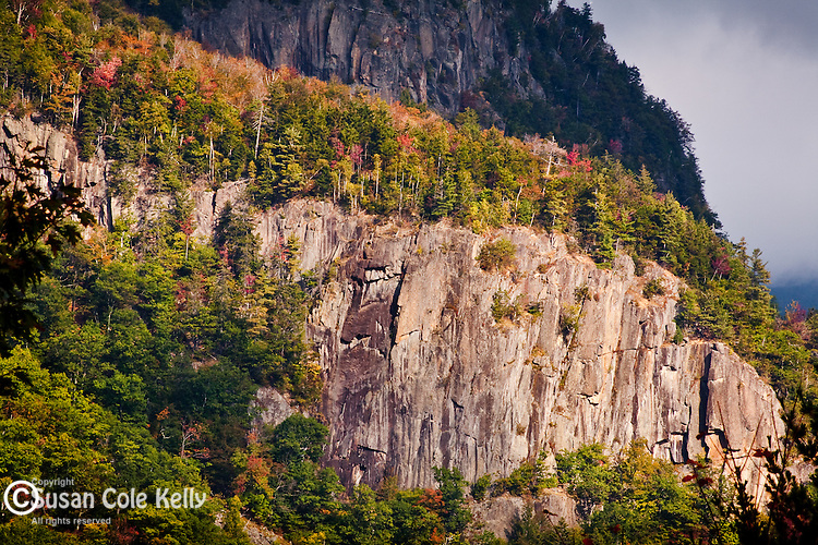 Frankenstein Cliff towers over Crawford Notch State Park, White Mountains, NH, USA
