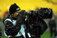 Photographer Kerry Marshall shoots during the Super Rugby quarterfinal match between the Hurricanes and Sharks at Westpac Stadium, Wellington, New Zealand on Saturday, 23 July 2016. Photo: Dave Lintott / lintottphoto.co.nz