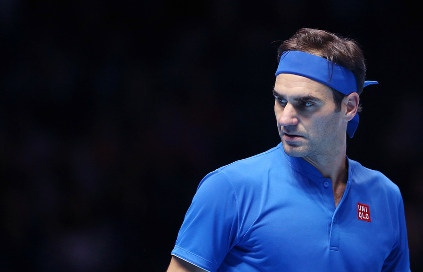 Roger Federer (SUI) during his match against Dominic Thiem (AUT) in their Group Lleyton Hewitt match<br /> <br /> Photographer Rob Newell/CameraSport<br /> <br /> International Tennis - Nitto ATP World Tour Finals Day 3 - O2 Arena - London - Tuesday 13th November 2018<br /> <br /> World Copyright © 2018 CameraSport. All rights reserved. 43 Linden Ave. Countesthorpe. Leicester. England. LE8 5PG - Tel: +44 (0) 116 277 4147 - admin@camerasport.com - www.camerasport.com