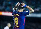 4th November 2017, Camp Nou, Barcelona, Spain; La Liga football, Barcelona versus Sevilla; Luis Suarez frustrated at a missed chance
