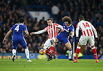 Chelsea's David Luiz tussles with Stoke'sXherdan Shaqiri during the Premier League match at Stamford Bridge Stadium, London. Picture date December 31st, 2016 Pic David Klein/Sportimage