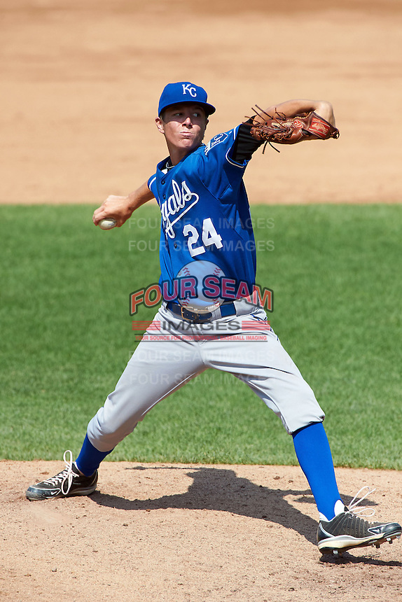 Timothy Jones #24 of Pensacola Catholic High School in Pensacola Beach, Florida playing for the Kansas City Royals scout team during the East Coast Pro Showcase at Alliance Bank Stadium on August 3, 2012 in Syracuse, New York.  (Mike Janes/Four Seam Images)