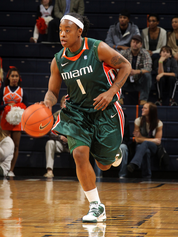 Jan. 6, 2011; Charlottesville, VA, USA; Miami Hurricanes guard Riquna Williams (1) drives down court during the game against the Virginia Cavaliers at the John Paul Jones Arena.  Mandatory Credit: Andrew Shurtleff-