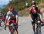 Tao Geoghegan Hart (GBR) Team Ineos and Ruben Guerreiro (POR) Katusha Alpecin on the final climb of Stage 15 of La Vuelta 2019  running 154.4km from Tineo to Santuario del Acebo, Spain. 8th September 2019.<br /> Picture: Karlis | Cyclefile<br /> <br /> All photos usage must carry mandatory copyright credit (© Cyclefile | Karlis)
