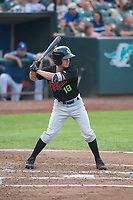 Great Falls Voyagers center fielder Jay Estes (18) at bat during a Pioneer League against the Ogden Raptors at Lindquist Field on August 23, 2018 in Ogden, Utah. The Ogden Raptors defeated the Great Falls Voyagers by a score of 8-7. (Zachary Lucy/Four Seam Images)
