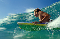 Body boarding in the beautiful blue waters of Oahu