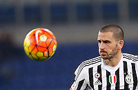 Calcio, Serie A: Lazio vs Juventus. Roma, stadio Olimpico, 4 dicembre 2015.<br /> Juventus&rsquo; Leonardo Bonucci eyes the ball during the Italian Serie A football match between Lazio and Juventus at Rome's Olympic stadium, 4 December 2015.<br /> UPDATE IMAGES PRESS/Riccardo De Luca