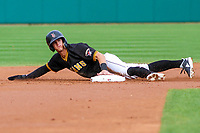 Indianapolis Indians shortstop Kevin Newman (3) slides into second base during an International League game against the Buffalo Bisons on July 28, 2018 at Victory Field in Indianapolis, Indiana. Indianapolis defeated Buffalo 6-4. (Brad Krause/Four Seam Images)