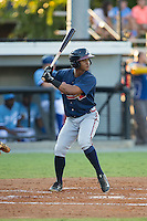 Ray-Patrick Didder (1) of the Danville Braves at bat against the Burlington Royals at Burlington Athletic Park on August 13, 2015 in Burlington, North Carolina.  The Braves defeated the Royals 6-3. (Brian Westerholt/Four Seam Images)